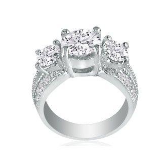 3 3/4ct Three Diamond Ring in 14k White Gold