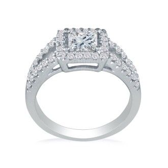 1 3/8ct Princess Center Stone and Micro Pave Diamond Ring in 14k Gold