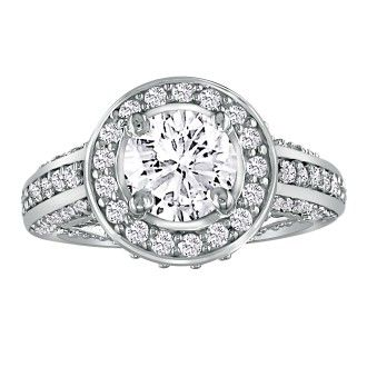1 2/3 Carat Antique Inspired Halo Diamond Engagement Ring in 14k White Gold