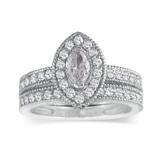1 Carat Marquise Halo Diamond Bridal Set in 14k White Gold