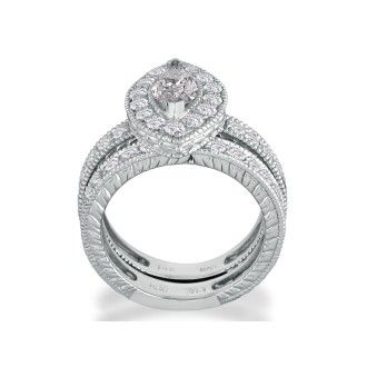 2 Carat Marquise Cut Halo Diamond Bridal Set in 14k White Gold