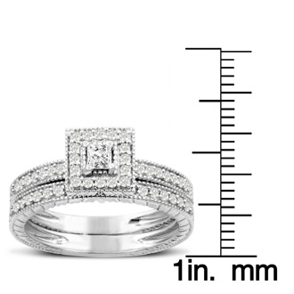 Amazing Engraved Vintage 1/2 Carat Princess Bridal Set In Solid 14K Gold