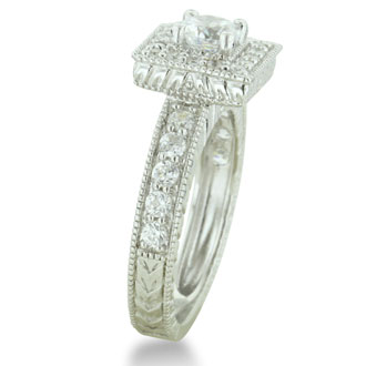 1 1/2ct Princess Diamond Bridal Set in 14k White Gold, Also Available in Other Diamond Weights