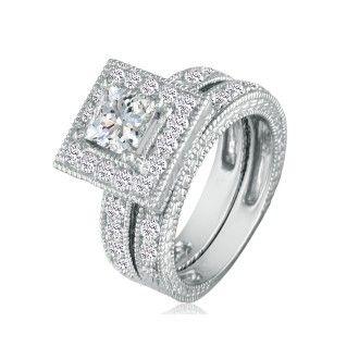 2 Carat Princess Shape Diamond Bridal Set in 14k White Gold