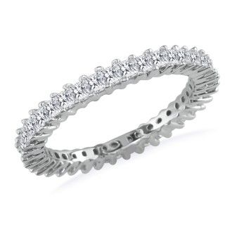 4ct Princess Cut Diamond Eternity Band, Size 7, 7.5, White Gold