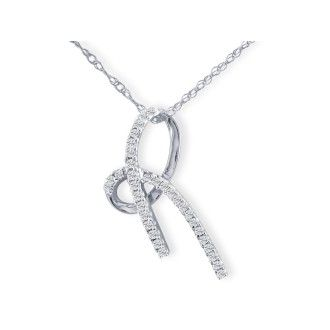 1/5ct Diamond Bow Pendant, White Gold, LAST ONE AVAILABLE