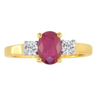 .80ct Ruby and Diamond Ring in 14k Yellow Gold, Size 6.5