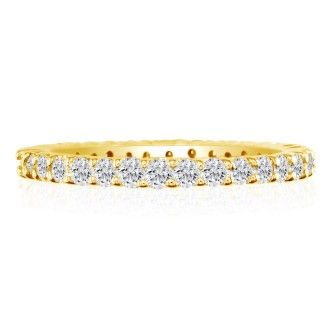 14 Karat Yellow Gold 1/2 Carat Diamond Eternity Band, G-H SI3, Ring Sizes 4 to 9 1/2