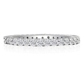 14 Karat White Gold 1 Carat Diamond Eternity Band, G-H SI3, Ring Sizes 4 to 9 1/2