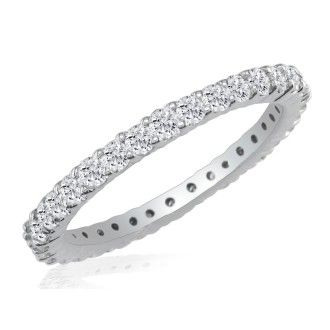 14 Karat White Gold 1 Carat Diamond Eternity Band, I-J I1-I2, Ring Sizes 4 to 9 1/2