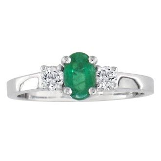 1ct Emerald and Diamond Ring in 14K White Gold