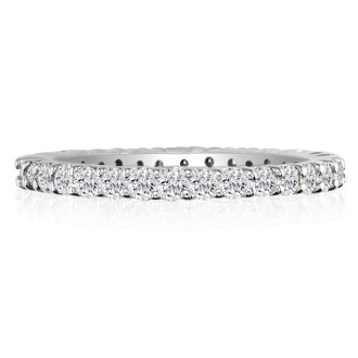 Platinum 2 Carat Diamond Eternity Band, G-H SI1-SI2, Ring Sizes 4 to 9 1/2