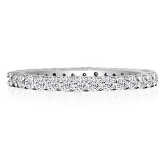 14 Karat White Gold 3 Carat Diamond Eternity Band, I-J I1-I2, Ring Sizes 4 to 9 1/2