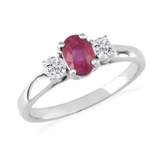 1.20ct Fine Quality Ruby and Diamond Ring in 14k White Gold