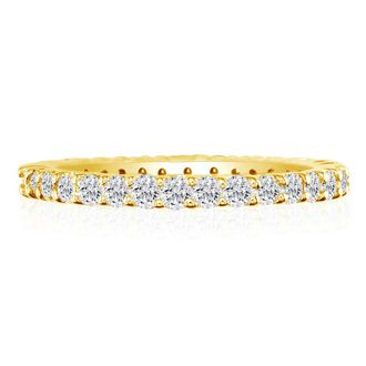 14 Karat Yellow Gold 3 Carat Diamond Eternity Band, I-J I1-I2, Ring Sizes 4 to 9 1/2