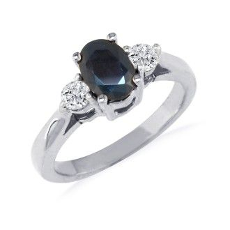 1.20ct Sapphire and Diamond Ring in 14k White Gold