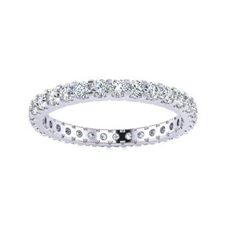 18 Karat White Gold 1 Carat Diamond Eternity Band, G-H SI3, Ring Sizes 4 to 9 1/2