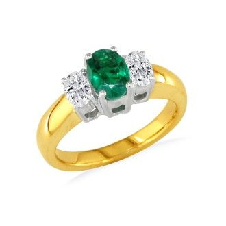 1/2ct Emerald and Oval Diamond Ring in 14k Yellow Gold