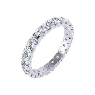 Platinum 2ct U-Based Diamond Eternity Band, H-I | SI1-SI2, 4-9.5