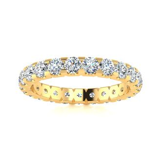 18 Karat Yellow Gold 2 Carat Diamond Eternity Band, G-H SI3, Ring Sizes 4 to 9 1/2