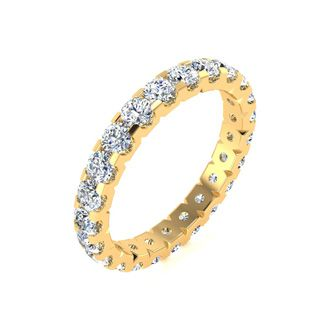 18k 2ct U-Based Diamond Eternity Band,H-I | SI2-I1, Ring Sizes 4 to 9 1/2