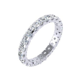 14k 2ct U-Based Diamond Eternity Band, Ring Sizes 4 to 9 1/2