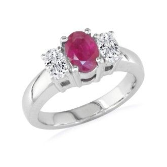 1/2ct Fine Quality Ruby and Oval Diamond Ring in 14k White Gold