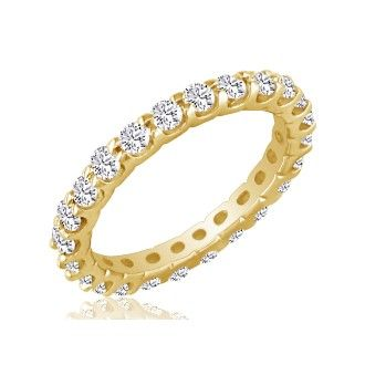 14 Karat Yellow Gold 2 Carat Diamond Eternity Band, I-J I1-I2, Ring Sizes 4 to 9 1/2
