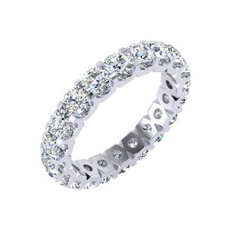 18k 3ct U-Based Diamond Eternity Band, GH SI3, Ring Sizes 4 to 9 1/2