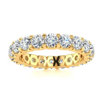 18 Karat Yellow Gold 3 Carat Diamond Eternity Band, G-H SI3, Ring Sizes 4 to 9 1/2
