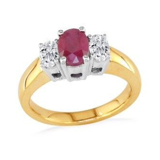 1/2ct Fine Quality Ruby and Oval Diamond Ring in 14k Yellow Gold