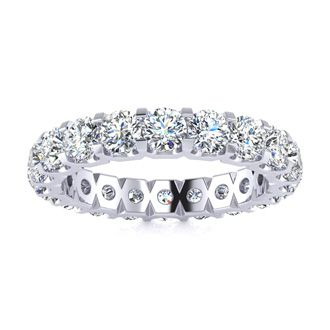 Platinum 3 Carat Diamond Eternity Band, G-H SI3, Ring Sizes 4 to 9 1/2