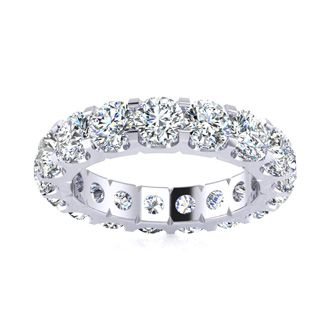 18k 4ct U-Based Diamond Eternity Band, H-I | SI1-SI2, Ring Sizes 4 to 9 1/2