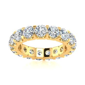 18 Karat Yellow Gold 4 Carat Diamond Eternity Band, G-H SI1-SI2, Ring Sizes 4 to 9 1/2
