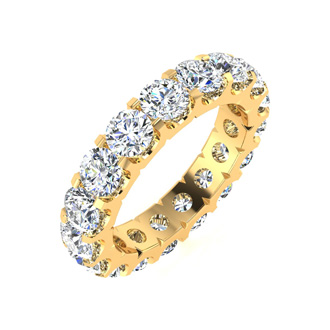 14 Karat Yellow Gold 4 Carat Diamond Eternity Band, G-H SI3, Ring Sizes 4 to 9 1/2