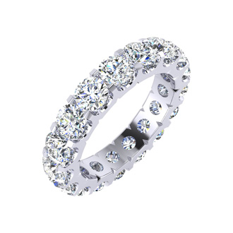 14 Karat White Gold 4 Carat Diamond Eternity Band, I-J I1-I2, Ring Sizes 4 to 9 1/2