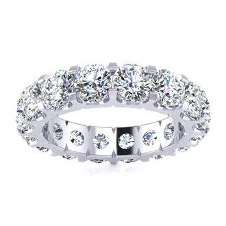 Platinum 5 Carat Diamond Eternity Band, G-H SI1-SI2, Ring Sizes 4 to 9 1/2