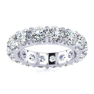 14k 5ct U-Based Diamond Eternity Band, H-I | SI2-I1, Ring Sizes 4 to 9 1/2