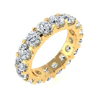 14 Karat Yellow Gold 5 Carat Diamond Eternity Band, G-H SI3, Ring Sizes 4 to 9 1/2
