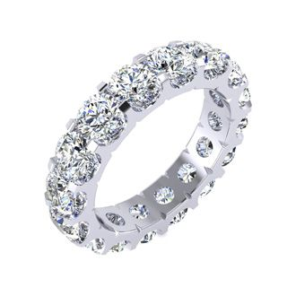 14 Karat White Gold 5 Carat Diamond Eternity Band, I-J I1-I2, Ring Sizes 4 to 9 1/2