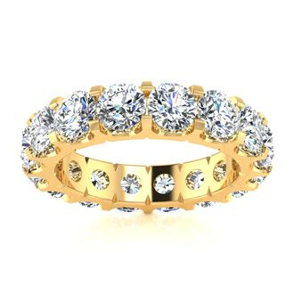 14 Karat Yellow Gold 5 Carat Diamond Eternity Band, I-J I1-I2, Ring Sizes 4 to 9 1/2