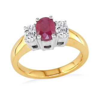 1 1/2ct Oval Fine Quality Ruby and Diamond Ring in 14k Yellow Gold