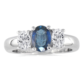 1.50ct Sapphire and Diamond Ring in 14k White Gold