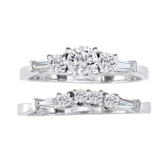 .81ct Diamond Bridal Set With 1/3ct Center Diamond in 14k White Gold