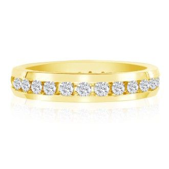 14 Karat Yellow Gold 1 Carat Channel Set Diamond Eternity Band, I-J I1-I2, Ring Sizes 4 to 9 1/2