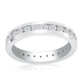 14 Karat White Gold 3 Carat Channel Set Diamond Eternity Band, G-H SI3, Ring Sizes 4 to 9 1/2