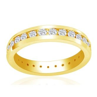 14 Karat Yellow Gold 4 Carat Channel Set Diamond Eternity Band, G-H SI1-SI2, Ring Sizes 4 to 9 1/2