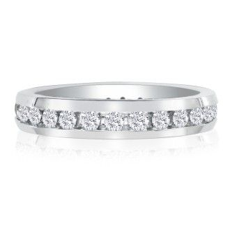 4ct Channel Set Round Diamond Eternity Band in 18k WG, H-I | SI1-SI2, 4-9.5