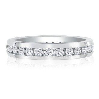 14 Karat White Gold 4 Carat Channel Set Diamond Eternity Band, G-H SI3, Ring Sizes 4 to 9 1/2