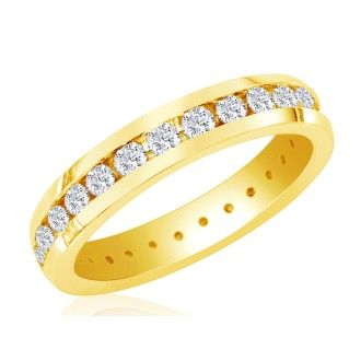 14 Karat Yellow Gold 4 Carat Channel Set Diamond Eternity Band, G-H SI3, Ring Sizes 4 to 9 1/2